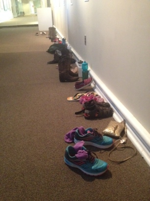 Shoes outside the Rollins dance studio while campers rehearse